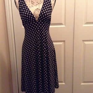 EUC Poetry Black & White Polka Dots V Neck Dress